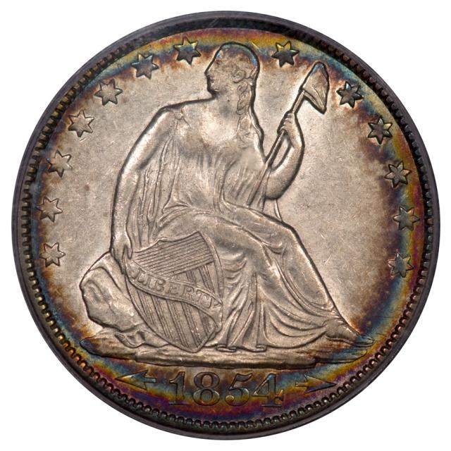 1854-O 50C Arrows Liberty Seated Half Dollar PCGS AU53