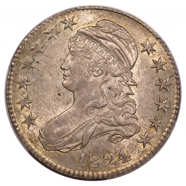 1824 50C Over Various Dates Capped Bust Half Dollar PCGS AU58 (CAC) O-103