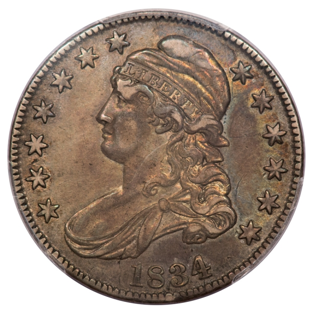 1834 50C O-107 Large Date, Small Letters Capped Bust Half Dollar PCGS XF45