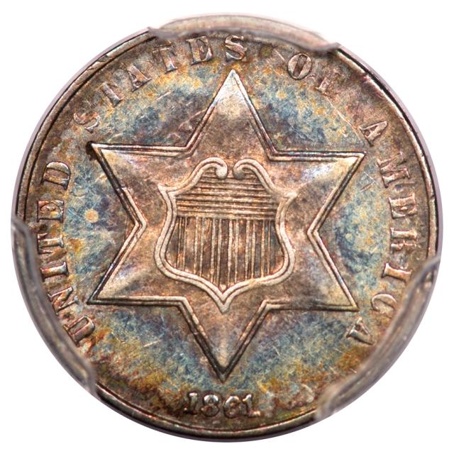 1861 3CS Three Cent Silver PCGS AU53