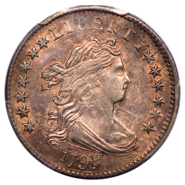1798/7 10C 13 Stars Reverse Draped Bust Dime PCGS AU58