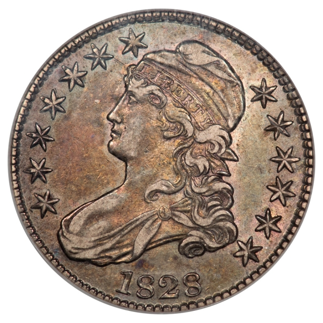 1828 SM 8 SQ 2 LG LET Capped Bust O-118  R3 50C NGC XF45 Double Struck