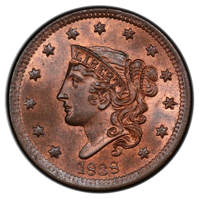 1838 1C Coronet Head Cent PCGS MS65RB (CAC)