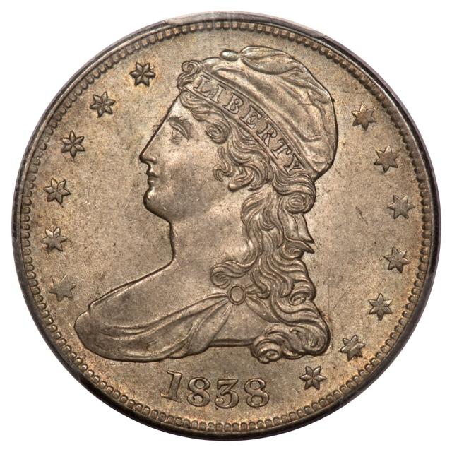 1838 50C GR-3 PCGS MS63 Reeded Edge Capped Bust Half Dollar