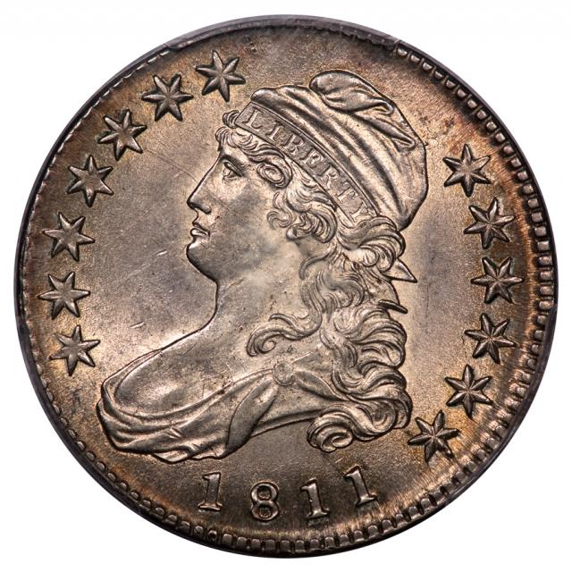 1811 50C Small 8 Capped Bust Half Dollar PCGS AU58 O-110 PRIME