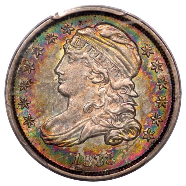 1833 10C Capped Bust Dime PCGS AU55 JR4