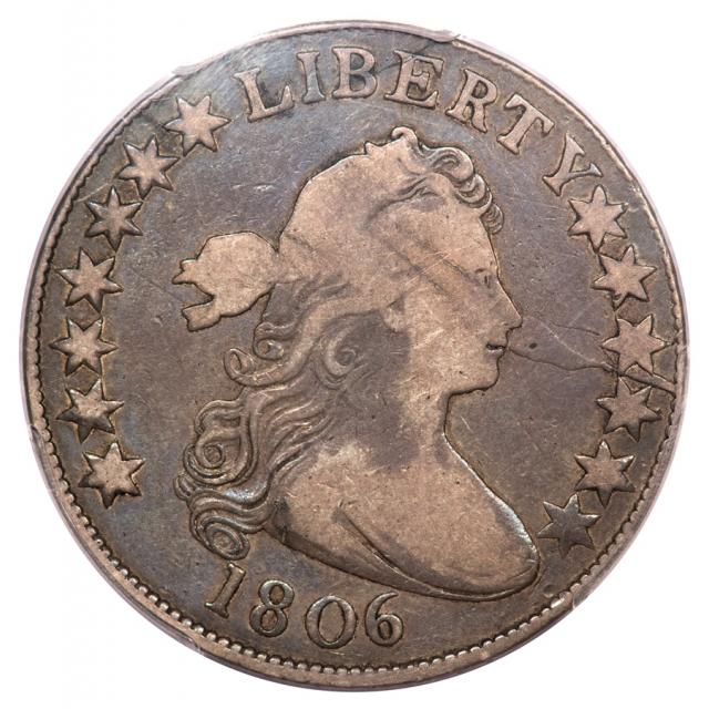 1806 50C Pointed 6, Stem Overton 110 Draped Bust Half Dollar PCGS F15 (CAC)