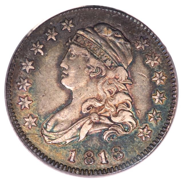 1818 25C Capped Bust Quarter PCGS AU50 (CAC) B4 PRIME