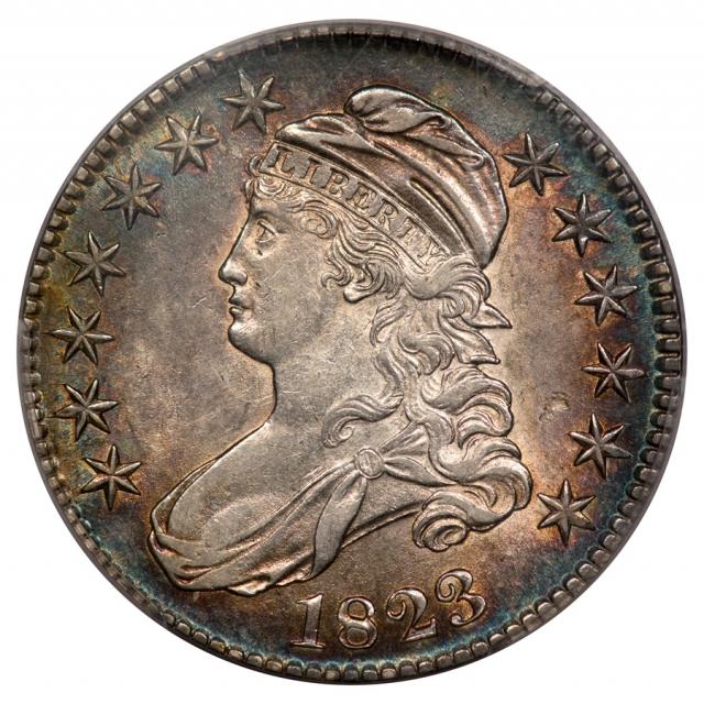 1823 50C Capped Bust Half Dollar PCGS AU58 O-107
