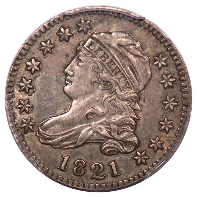 1821 10C Large Date Capped Bust Dime PCGS AU55 JR4