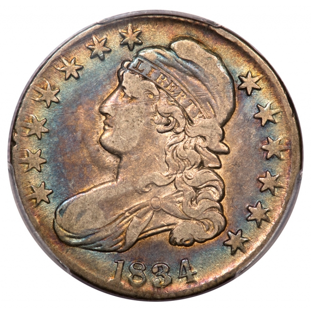 1834 50C Large Date, Large Letters Capped Bust Half Dollar PCGS VF25