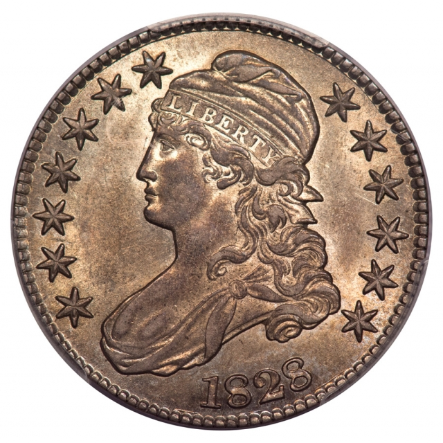 1828 50C Square 2, Small 8, Large Letters Capped Bust Half Dollar PCGS AU58 (CAC) O-120