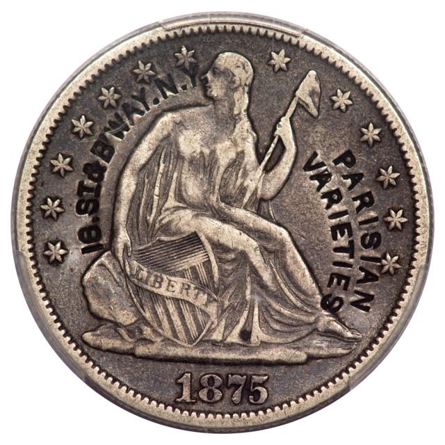 1875 50C Liberty Seated Half Dollar PCGS Brunk P-125, Rulau NY-NY230 Parisian Varieties