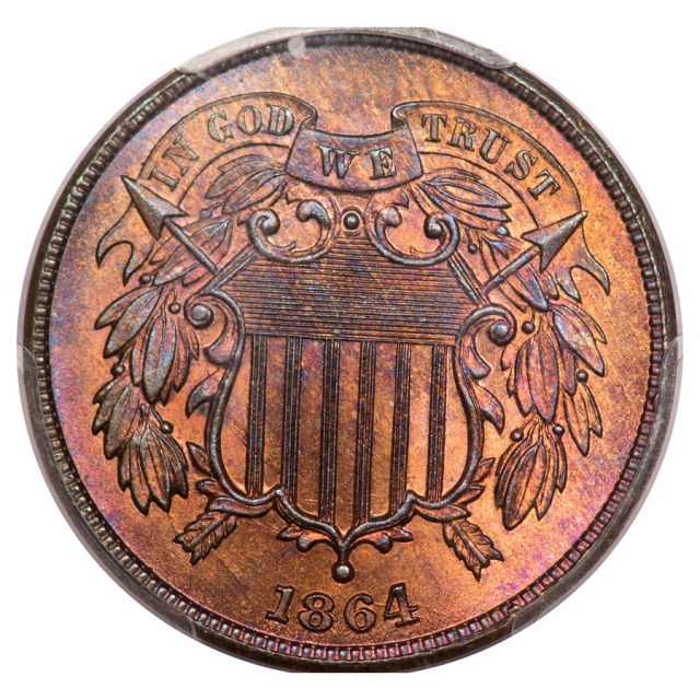 1864 2C Large Motto Two Cent Piece PCGS MS66RB