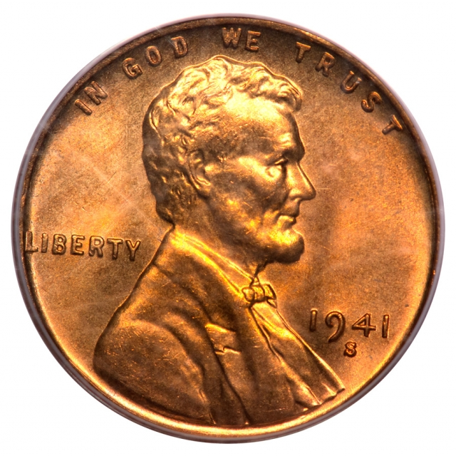 1941-S 1C Lincoln Cent - Type 1 Wheat Reverse PCGS MS67RD