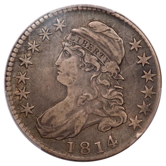 1814 50C Capped Bust Half Dollar PCGS VF20 (CAC) E/A O-108