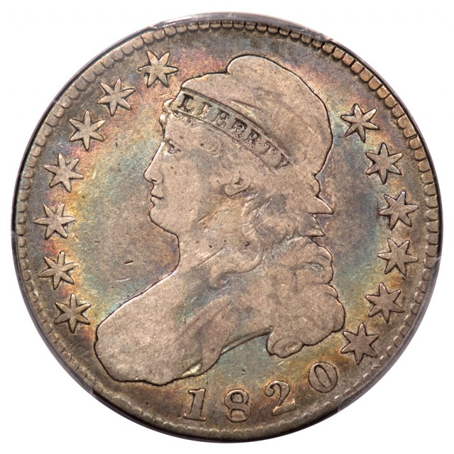 1820 50C Square 2, Large Date, Knob 2 Overton 104a Capped Bust Half Dollar PCGS VG8
