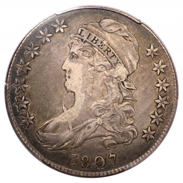 1807 50C Bearded Goddess Capped Bust Half Dollar PCGS VF35 O-111B