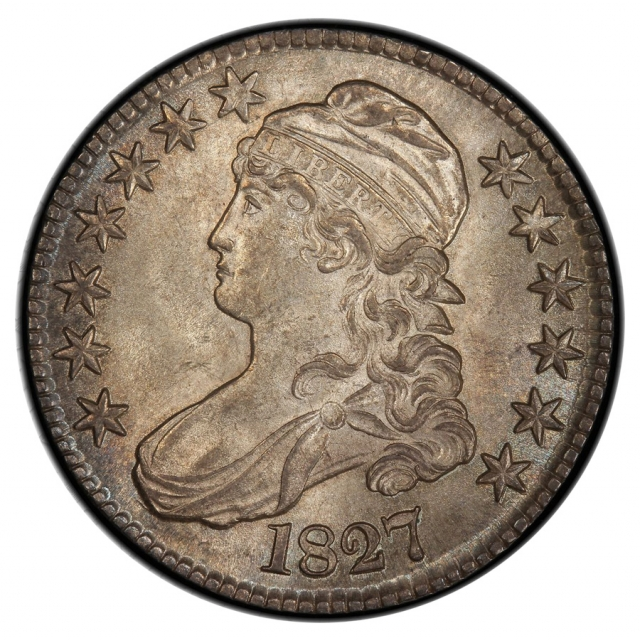 1827 50C Square Base 2 Overton 115 Capped Bust Half Dollar PCGS MS64 (CAC)