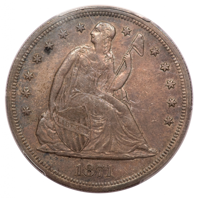 1871 $1 Liberty Seated Dollar PCGS AU55