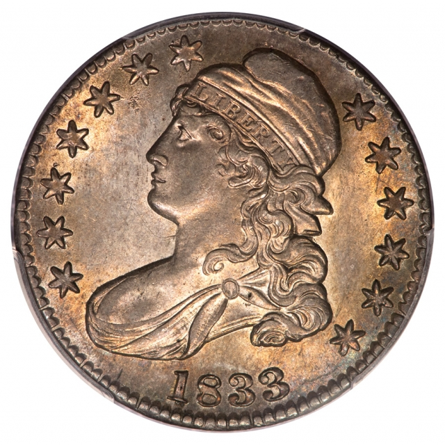 1833 50C Overton 105 PRIME Capped Bust Half Dollar PCGS MS63 (CAC)