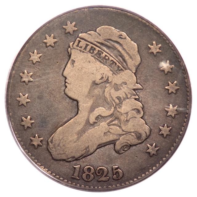 1825/4/2 25C Capped Bust Quarter PCGS VG08 B2 (CAC)