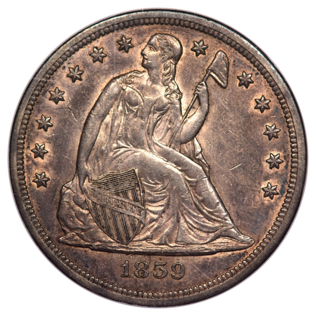 1859-O Seated Liberty - No Motto S$1 NGC AU58