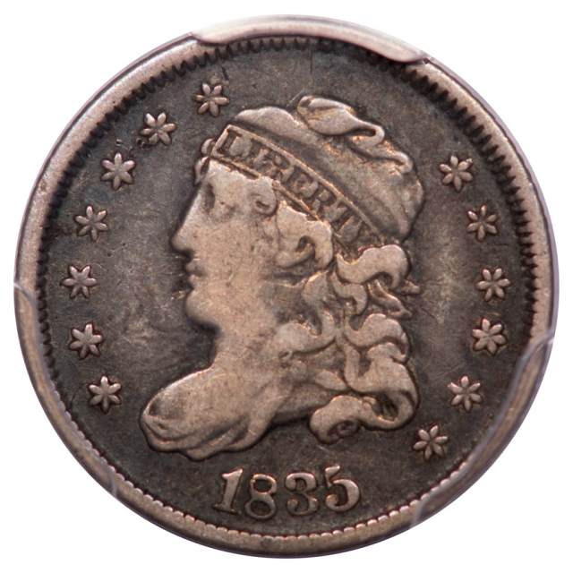 1835 H10C LM 5.2 Large Date, Small 5C Capped Bust Half Dime PCGS F15 (CAC)