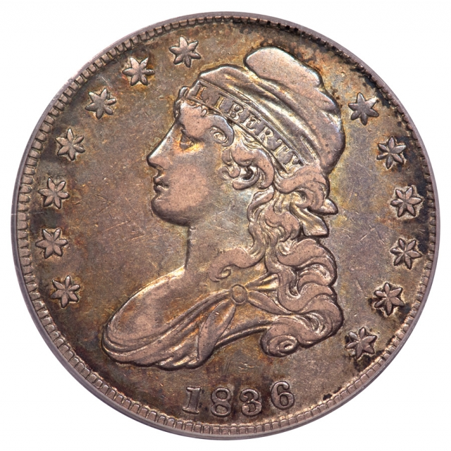 1836 50C O-121 R5+ Lettered Edge Capped Bust Half Dollar PCGS XF40 (CAC)