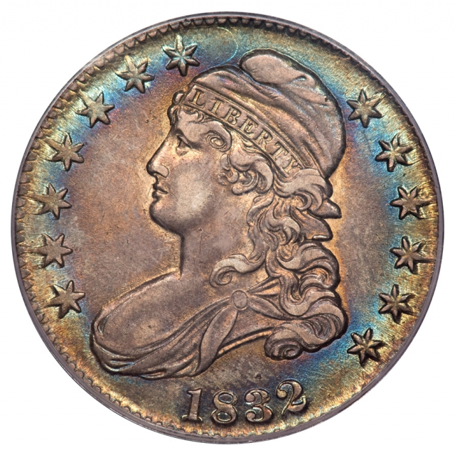 1832 50C O-101A Large Letters Capped Bust Half Dollar PCGS AU55 (CAC)