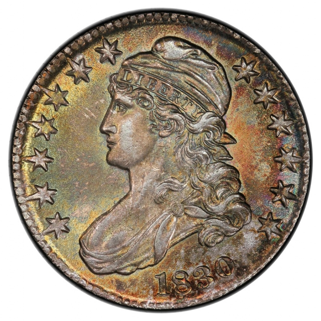1830 50C Small 0 O-104 Capped Bust Half Dollar PCGS MS64 (CAC)