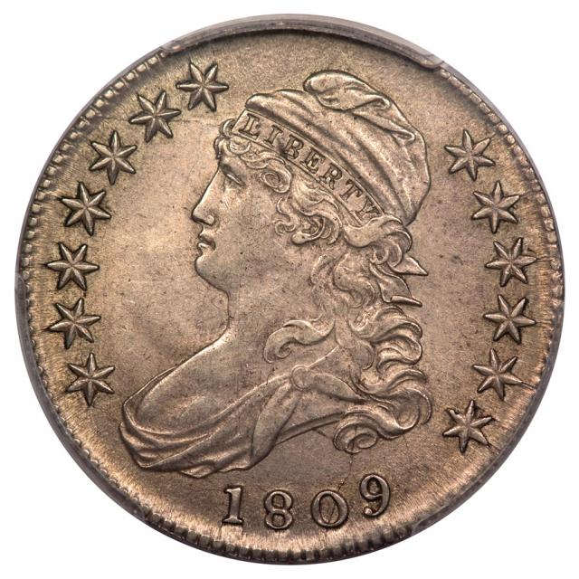 1809 50C O-115a Capped Bust Half Dollar PCGS AU55 (CAC)