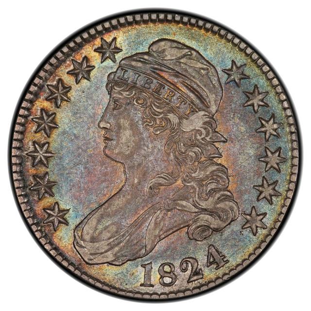 1824 50C O-116 R3 Capped Bust Half Dollar PCGS AU53 (CAC)