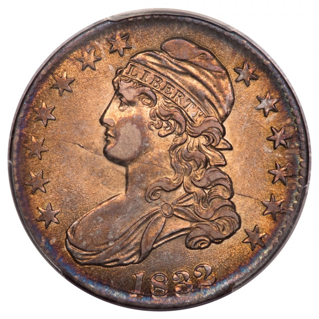 """1832 50C Small Letters O-120""""B"""" Capped Bust Half Dollar PCGS AU58 (CAC)"""