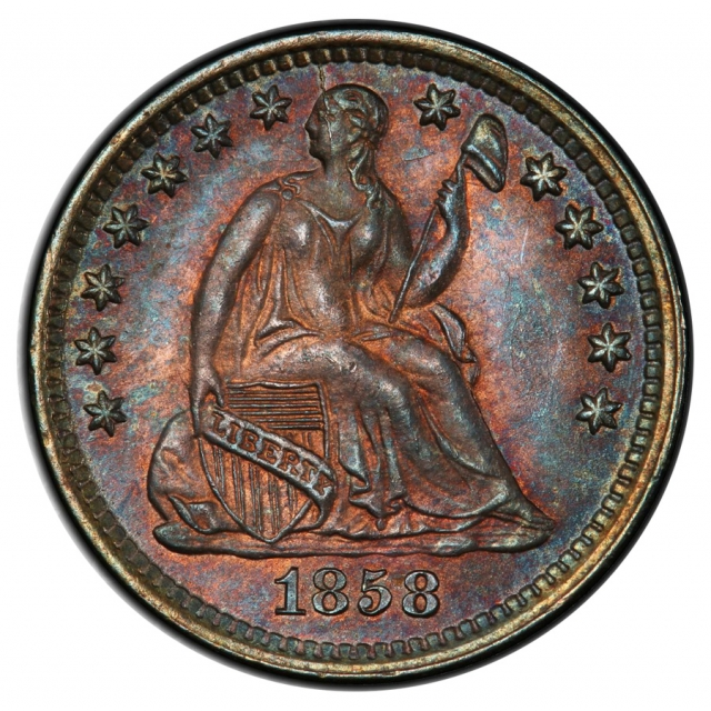 1858-O H10C Liberty Seated Half Dime PCGS MS65