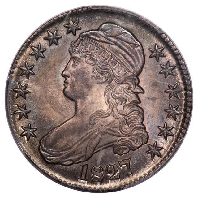 1827 50C Square Base 2 O-129 Capped Bust Half Dollar PCGS MS64 (CAC)