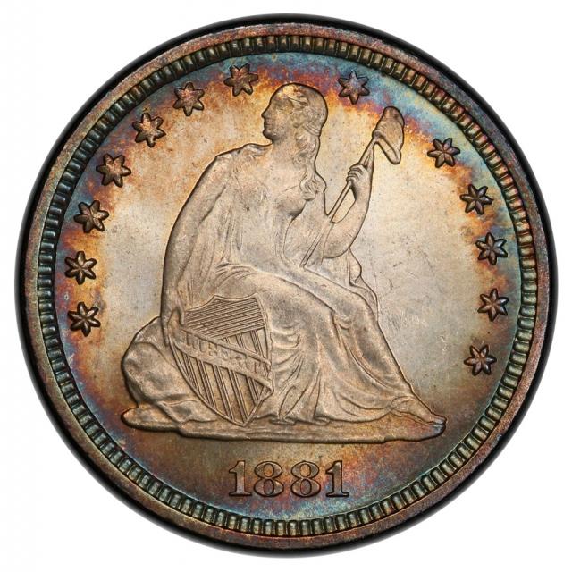 1881 25C Liberty Seated Quarter PCGS MS64 (CAC)