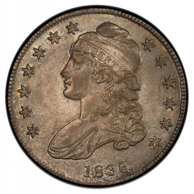 1836 50C Lettered Edge O-119 Capped Bust Half Dollar PCGS AU58 (CAC)