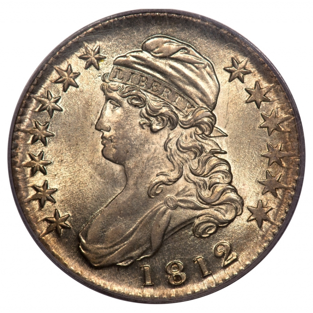 1812 50C O-103 PCGS MS63 TRIPLE STRUCK IN COLLAR Capped Bust Half Dollar