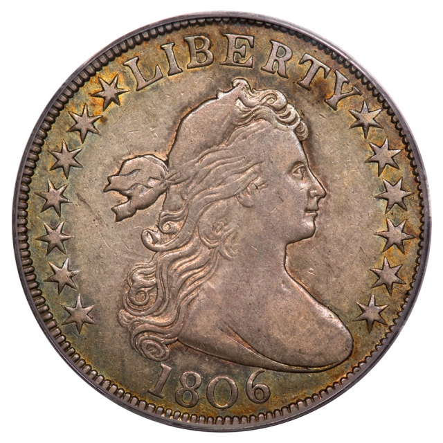 1806 50C Pointed 6, Stem O-113 TIED FINEST Draped Bust Half Dollar PCGS XF45 (CAC)