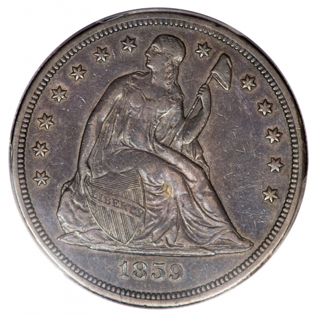 1859-S $1 Liberty Seated Dollar PCGS XF40