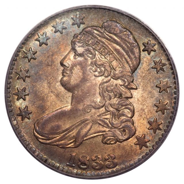 1833 50C O-110 OGH Capped Bust Half Dollar PCGS AU55 (CAC)