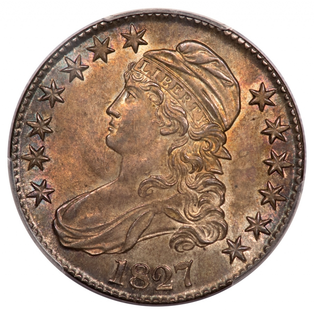 1827 50C Square Base 2 O-134 Capped Bust Half Dollar PCGS MS63 (CAC)